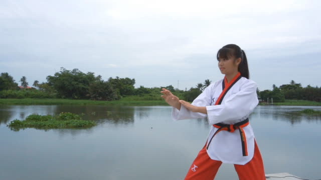 slow motion of young women practising martial arts outdoors - taekwondo stock videos & royalty-free footage