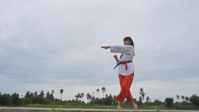 slow motion of young women practising martial arts - taekwondo stock videos & royalty-free footage