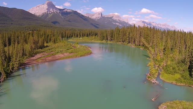 Slow Motion Over the Bow River in the Bow Valley