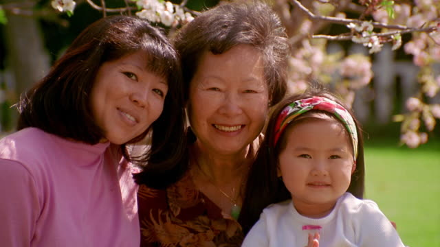 slow motion pan zoom in portrait mother, daughter and grandmother with granddaughter kissing grandmother on cheek - two generation family stock videos & royalty-free footage