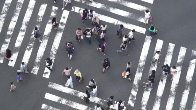 vídeos de stock e filmes b-roll de slow motion pedestrians at ginza crossing in tokyo, japan. - ginza