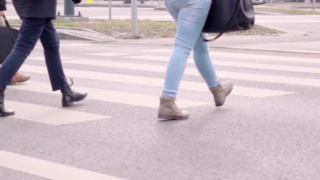 Slow motion: People walking. Crowd. Street