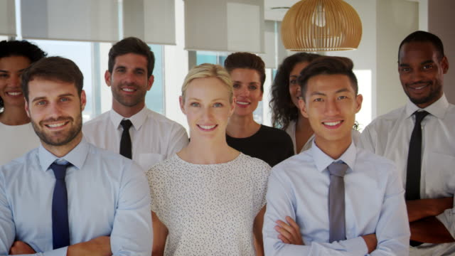 Slow Motion Portrait Of Business Team In Office