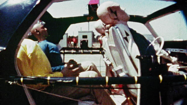 1968 slow motion ms profile crash test dummies being jerked back + forth  in car during crash test - crash test stock videos & royalty-free footage