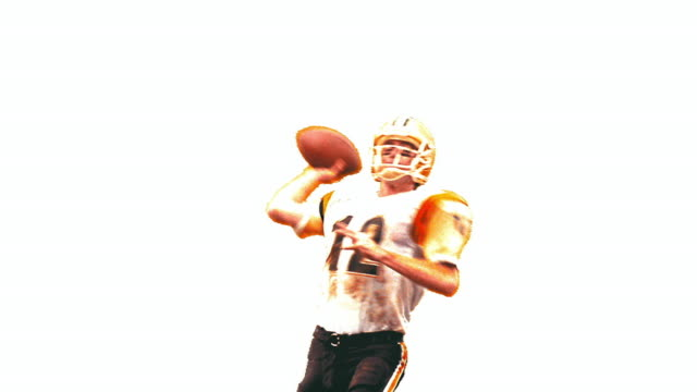 OVEREXPOSED slow motion quarterback throwing ball, raising arms + jumping in air in victory