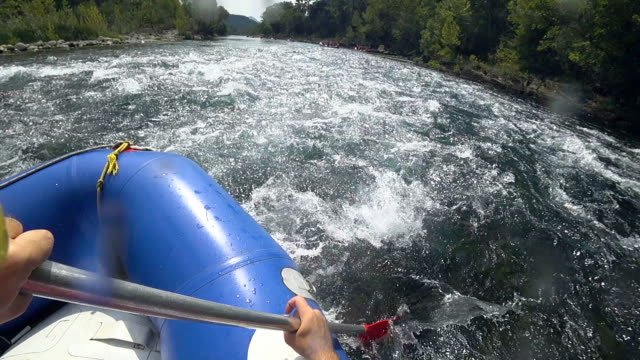 slow motion rafting in manavgat river, antalya, turkey - inflatable raft stock videos and b-roll footage
