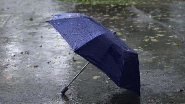 vidéos et rushes de pluie et parapluie lents de mouvement - impact