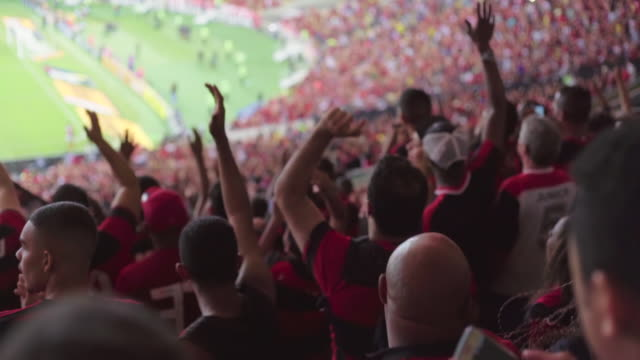 slow motion: rear shot fans wearing jerseys cheer at brazilian soccer match - match sport stock videos & royalty-free footage