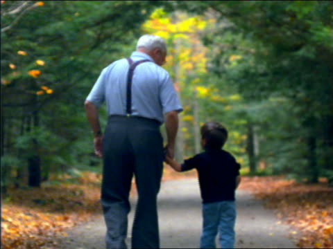 vídeos y material grabado en eventos de stock de slow motion rear view boy with grandfather holding hands + walking on country road in autumn / connecticut - agarrados de la mano