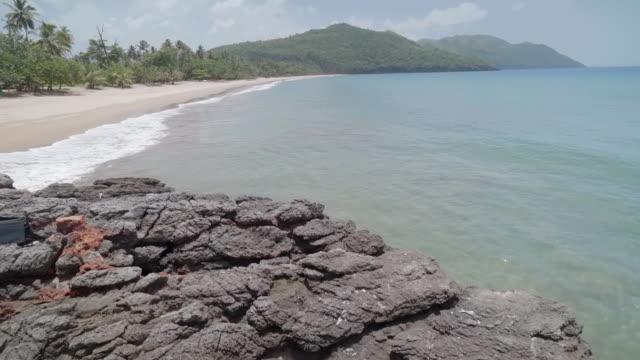 Slow Motion: Rocks Overlooking Tropical Coastline in El Limon, Dominican Republic