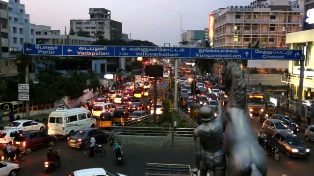 slow motion rush hour traffic chennai, india - chennai stock videos & royalty-free footage
