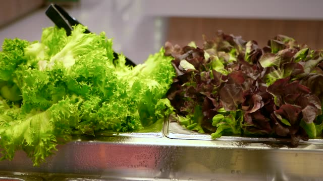 slow motion salad bar in supermarket - food bar stock videos and b-roll footage