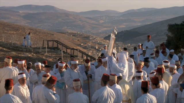slow motion, samaritan pilgrimage ceremony at mount gerizim near west bank city of nablus,samaria - wallfahrt stock-videos und b-roll-filmmaterial