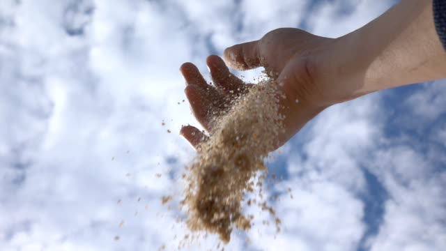 slow motion sand fall from human hand - sand stock videos & royalty-free footage