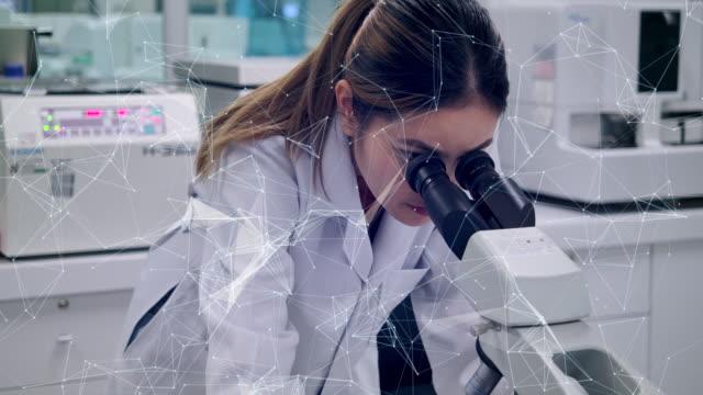 4k slow motion science laboratory wissenschaftler arbeiten an experimenten. einsatz von technologiemikroskop in der wissenschaftlichen praxis - physik stock-videos und b-roll-filmmaterial