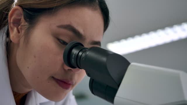 4k slow motion science laboratory scientists are working on experiments. using technology microscope in scientific practice - physics stock videos & royalty-free footage