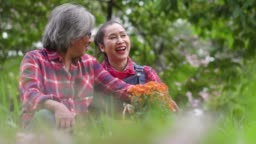 Slow motion: Senior farmer couple sitting and talking with happiness in the garden.