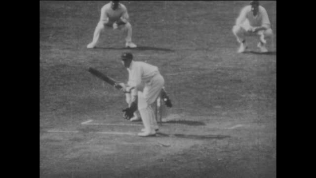 Slow motion sequence featuring Bill Ponsford batting for Australia during a match on their tour of England circa July 1926