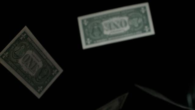 vídeos de stock, filmes e b-roll de slow motion sequence showing one dollar bills falling to the floor. - nota de dólar americano