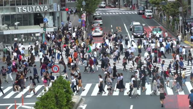 スローモーション: 渋谷交差点、東京