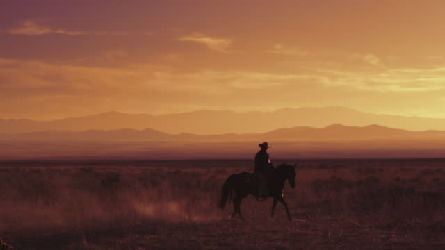 Slow motion shot of a cowboy riding a horse