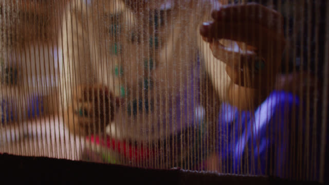 slow motion shot of a native american teenaged girl weaving at a loom while her navajo grandmother in her sixties watches and instructs her indoors in a hogan (navajo hut) - north american tribal culture stock videos & royalty-free footage