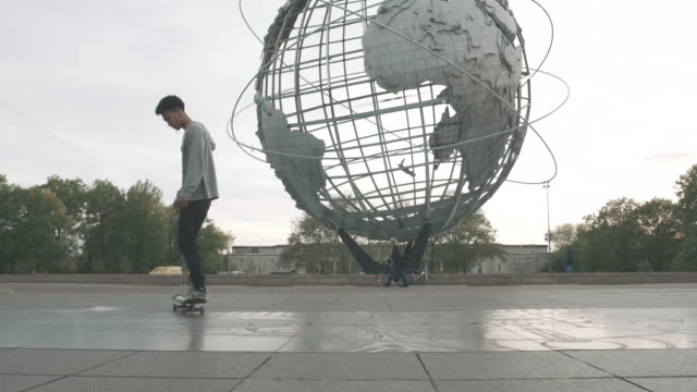 Slow motion shot of a Skateboarder at a park in Flushing, Queens - 4k