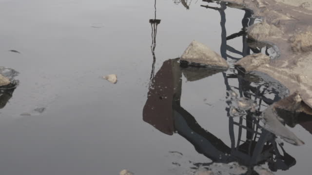 slow motion shot of an pumpjack reflected in a pool of oily water. - baku video stock e b–roll