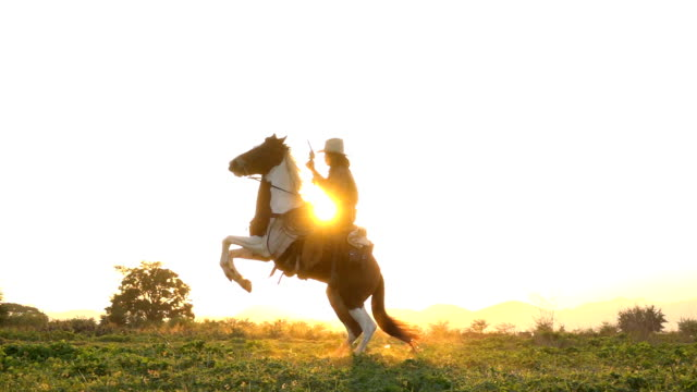 slow motion shot of cowboy horseback riding and holding a gun at twilight - cowboy stock videos & royalty-free footage
