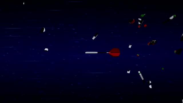 ターゲットを粉砕する dart のスローモーション撮影。 - ダーツ点の映像素材/bロール