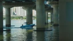 Slow motion shot of man water skiing in Han river, Seoul, South Korea