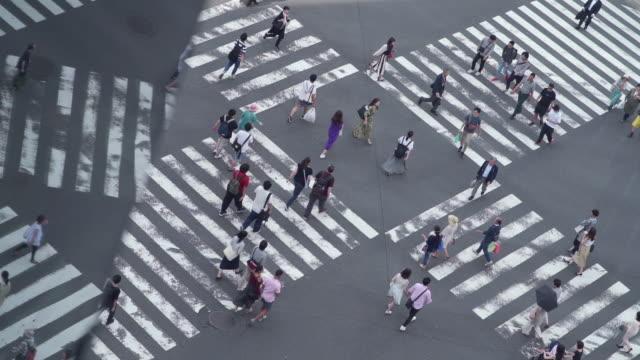 vidéos et rushes de tir au ralenti des piétons au passage à niveau de ginza à tokyo, japon - lockdown