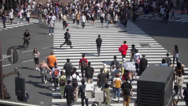 zeitlupenaufnahme von fußgängern am shibuya-übergang in tokio, japan - verkehrsweg für fußgänger stock-videos und b-roll-filmmaterial