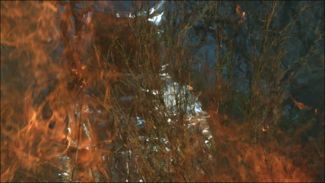 Slow motion shot of person walking through a bush fire while wearing a fire protection suit.