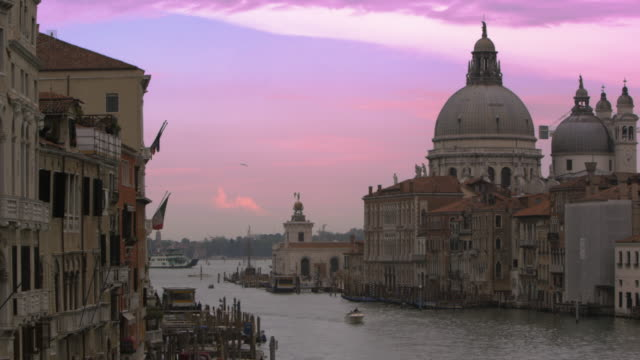 Slow motion shot of Santa Maria della Salute and the Grand Canal