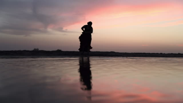 slow motion shot of silhouette woman dancing on shore with reflection in water against sky during sunset - camargue, france - silhouette stock videos & royalty-free footage