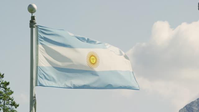 vídeos y material grabado en eventos de stock de disparo a cámara lenta de la bandera de argentina soplando en el viento en un día soleado - argentina