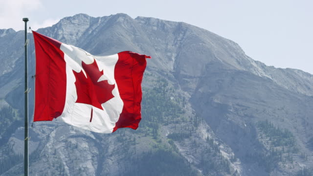 slow motion shot of the flag of canada blowing in the wind with a mountain in the background on a sunny day - pole stock videos & royalty-free footage