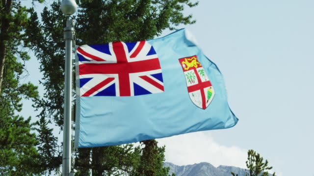 slow motion shot of the flag of fiji blowing in the wind by pine trees on a sunny day - canadian politics stock videos & royalty-free footage