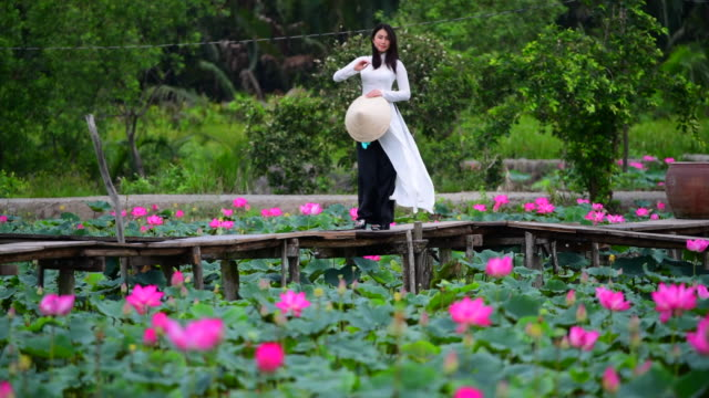 Slow Motion shot of Vietnam Women Hold Lotus on lotus field, Vietnam