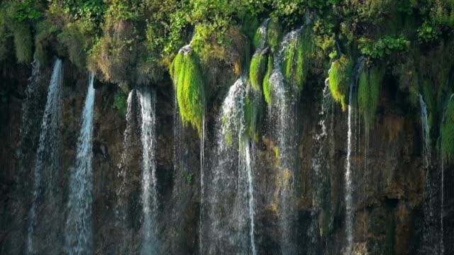 vidéos et rushes de slow motion shot of waterfall à l'intérieur d'une forêt verte, parc national des lacs plitvice - végétation verdoyante