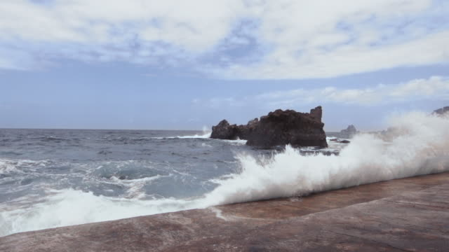 Slow motion shot of waves crashing onto the seafront on the island of El Hierro.
