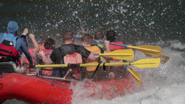ms 4k slow motion shot of white water rafters/kayakers on the snake river, wyoming - rafting stock videos & royalty-free footage