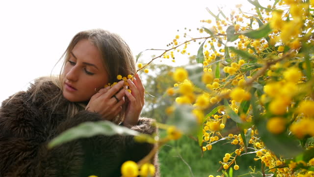 vidéos et rushes de slow motion shot of woman touching yellow flowers to ear in filed on sunny day - negev, israel - veste et blouson