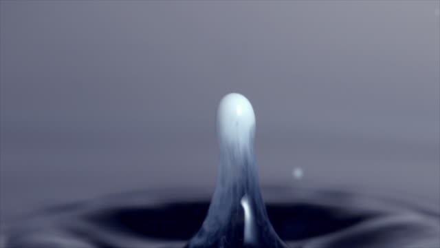 slow motion shots of a single white droplet falling into water and bouncing off the surface - splash crown stock videos & royalty-free footage