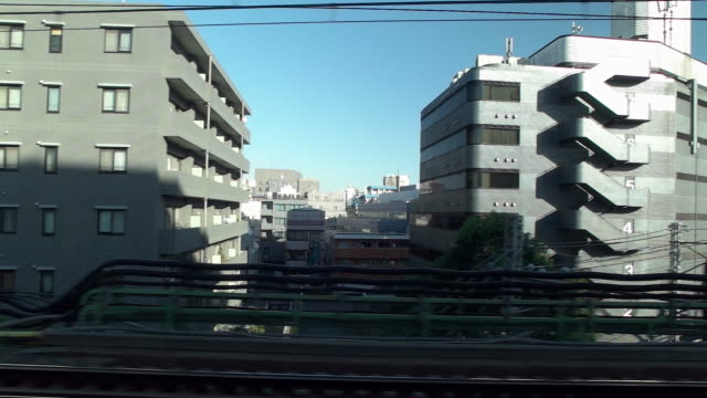 slow motion. side point of view. shot of passenger train scenery. tokyo, japan - side view点の映像素材/bロール
