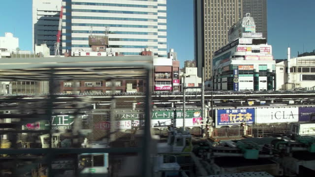 slow motion. side point of view. shot of passenger train scenery. tokyo, japan - 日本語の文字点の映像素材/bロール