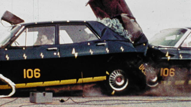 1968 slow motion side view stationary car being rear ended by speeding car during crash test - crash test stock videos & royalty-free footage