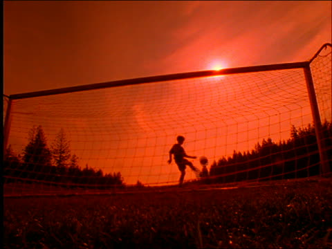 slow motion silhouette of boy kicking soccer ball near net / orange filter - unrecognisable person stock videos and b-roll footage