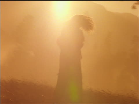 slow motion silhouette of couple spinning + hugging in field / sun rays in background / montana - anno 1997 video stock e b–roll